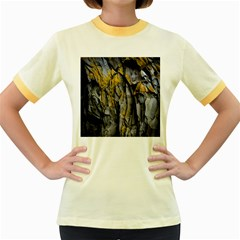 Grey Yellow Stone Women s Fitted Ringer T-Shirts