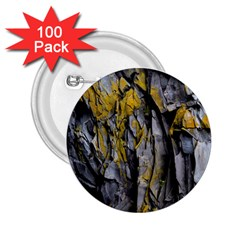 Grey Yellow Stone 2.25  Buttons (100 pack)