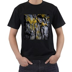 Grey Yellow Stone Men s T-Shirt (Black) (Two Sided)