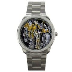 Grey Yellow Stone Sport Metal Watch