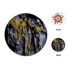 Grey Yellow Stone Playing Cards (round)