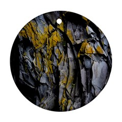 Grey Yellow Stone Round Ornament (two Sides)