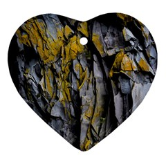 Grey Yellow Stone Heart Ornament (Two Sides)