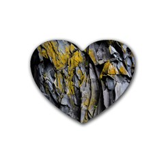 Grey Yellow Stone Rubber Coaster (Heart)