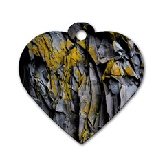 Grey Yellow Stone Dog Tag Heart (Two Sides)