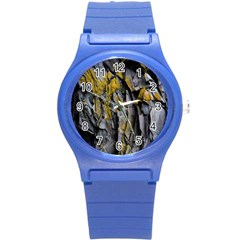Grey Yellow Stone Round Plastic Sport Watch (S)