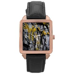 Grey Yellow Stone Rose Gold Leather Watch