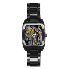 Grey Yellow Stone Stainless Steel Barrel Watch