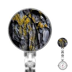 Grey Yellow Stone Stainless Steel Nurses Watch