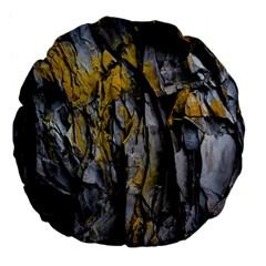 Grey Yellow Stone Large 18  Premium Flano Round Cushions