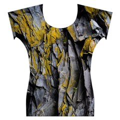 Grey Yellow Stone Women s Cap Sleeve Top
