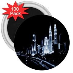 Kuala Lumpur Urban Night Building 3  Magnets (100 pack)