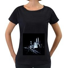 Kuala Lumpur Urban Night Building Women s Loose-Fit T-Shirt (Black)