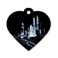 Kuala Lumpur Urban Night Building Dog Tag Heart (Two Sides)