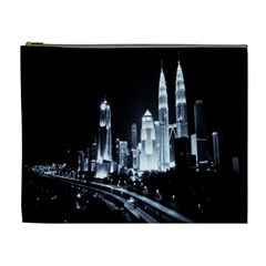 Kuala Lumpur Urban Night Building Cosmetic Bag (XL)