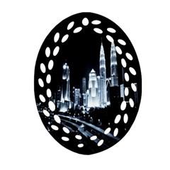 Kuala Lumpur Urban Night Building Ornament (Oval Filigree)