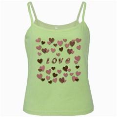 Love Valentine S Day 3d Fabric Green Spaghetti Tank
