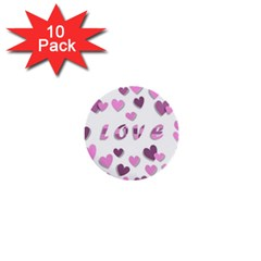 Love Valentine S Day 3d Fabric 1  Mini Buttons (10 pack)