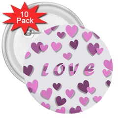 Love Valentine S Day 3d Fabric 3  Buttons (10 pack)