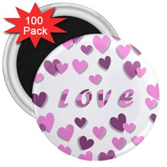 Love Valentine S Day 3d Fabric 3  Magnets (100 pack)