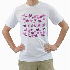 Love Valentine S Day 3d Fabric Men s T-Shirt (White) (Two Sided)