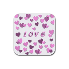 Love Valentine S Day 3d Fabric Rubber Square Coaster (4 pack)