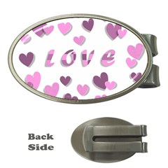 Love Valentine S Day 3d Fabric Money Clips (Oval)