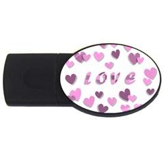 Love Valentine S Day 3d Fabric USB Flash Drive Oval (1 GB)