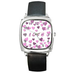 Love Valentine S Day 3d Fabric Square Metal Watch