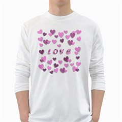 Love Valentine S Day 3d Fabric White Long Sleeve T-Shirts