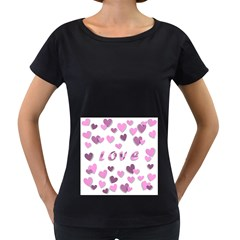 Love Valentine S Day 3d Fabric Women s Loose-Fit T-Shirt (Black)