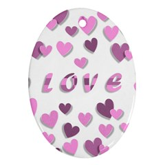 Love Valentine S Day 3d Fabric Oval Ornament (two Sides)