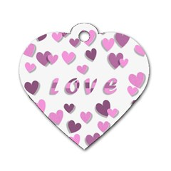 Love Valentine S Day 3d Fabric Dog Tag Heart (Two Sides)