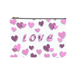 Love Valentine S Day 3d Fabric Cosmetic Bag (Large)