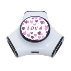 Love Valentine S Day 3d Fabric 3 Port Usb Hub