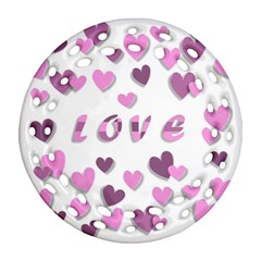 Love Valentine S Day 3d Fabric Round Filigree Ornament (Two Sides)