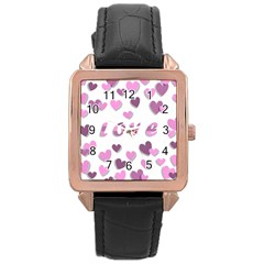 Love Valentine S Day 3d Fabric Rose Gold Leather Watch