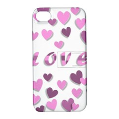 Love Valentine S Day 3d Fabric Apple iPhone 4/4S Hardshell Case with Stand