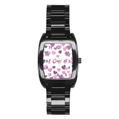 Love Valentine S Day 3d Fabric Stainless Steel Barrel Watch