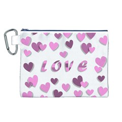 Love Valentine S Day 3d Fabric Canvas Cosmetic Bag (L)