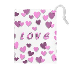 Love Valentine S Day 3d Fabric Drawstring Pouches (Extra Large)