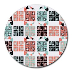 Mint Black Coral Heart Paisley Round Mousepads