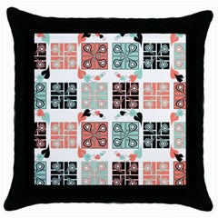 Mint Black Coral Heart Paisley Throw Pillow Case (Black)