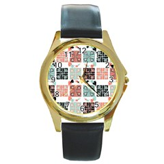 Mint Black Coral Heart Paisley Round Gold Metal Watch