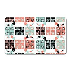 Mint Black Coral Heart Paisley Magnet (Rectangular)