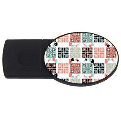 Mint Black Coral Heart Paisley USB Flash Drive Oval (1 GB)