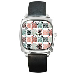 Mint Black Coral Heart Paisley Square Metal Watch
