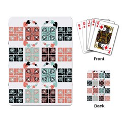 Mint Black Coral Heart Paisley Playing Card