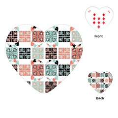 Mint Black Coral Heart Paisley Playing Cards (Heart)