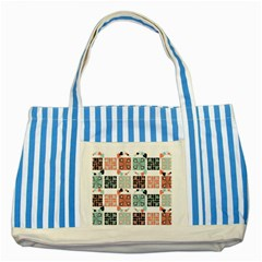 Mint Black Coral Heart Paisley Striped Blue Tote Bag